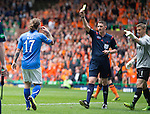 St Johnstone v Dundee United....17.05.14   William Hill Scottish Cup Final<br /> Stevie May is booked for bundling the ball over the line with his hand<br /> Picture by Graeme Hart.<br /> Copyright Perthshire Picture Agency<br /> Tel: 01738 623350  Mobile: 07990 594431