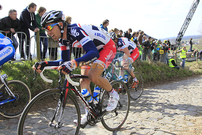 The tail end of the peloton including Jonas Van Genechten (BEL) Lotto Belisol Team climbs Koppenberg during the 96th edition of The Tour of Flanders 2012, running 256.9km from Bruges to Oudenaarde, Belgium. 1st April 2012. <br /> (Photo by Eoin Clarke/NEWSFILE).