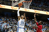 CHAPEL HILL, NC - NOVEMBER 01: Christian Keeling #55 of the University of North Carolina shoots a layup during a game between Winston-Salem State University and University of North Carolina at Dean E. Smith Center on November 01, 2019 in Chapel Hill, North Carolina.