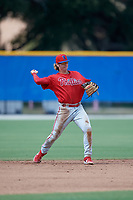Philadelphia Phillies shortstop Bryson Stott (10) throws to first base during an Instructional League game against the Toronto Blue Jays on September 27, 2019 at Englebert Complex in Dunedin, Florida.  (Mike Janes/Four Seam Images)