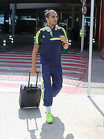 Wednesday 18 September 2013<br /> Pictured: Chico Flores arrives at Valencia Airport.<br /> Re: Swansea City FC players and staff travelling to Spain for their UEFA Europa League game against Valencia.
