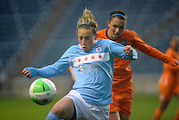 Chicago forward Ella Masar (3) plays the ball in front of Sky Blue defender Brittany Taylor (14).  Sky Blue FC defeated the Chicago Red Stars 1-0 at Toyota Park in Bridgeview, IL on April 25, 2010.