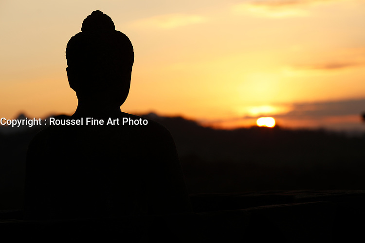sunset over Borobudur <br /> <br /> NOTE : final print will have some detail in shadows