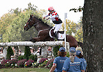 Yoshiaki Oiwa and Khanjer Black of the Japan compete in the cross country phase of the FEI  World Eventing Championship at the Alltech World Equestrian Games in Lexington, Kentucky.