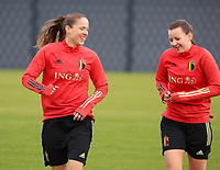 Lenie Onzia and Hannah Eurlings pictured during the training session of the Belgian Women's National Team ahead of a friendly female soccer game between the national teams of Germany and Belgium , called the Red Flames in a pre - bid tournament called Three Nations One Goal with the national teams from Belgium , The Netherlands and Germany towards a bid for the hosting of the 2027 FIFA Women's World Cup ,on 19th of February 2021 at Proximus Basecamp. PHOTO: SEVIL OKTEM | SPORTPIX.BE