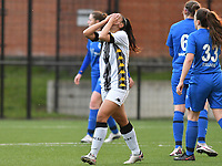 Jessica Silva Valdebenito (18) of Sporting Charleroi disappointed during a female soccer game between Sporting Charleroi and KRC Genk on the 4 th matchday in play off 2 of the 2020 - 2021 season of Belgian Scooore Womens Super League , friday 30 th of April 2021  in Marcinelle , Belgium . PHOTO SPORTPIX.BE | SPP | Jill Delsaux