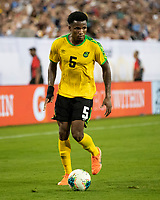 NASHVILLE, TN - JULY 4: Elvis Powell #5 during a game between Jamaica and USMNT at Nissan Stadium on July 4, 2019 in Nashville, Tennessee.