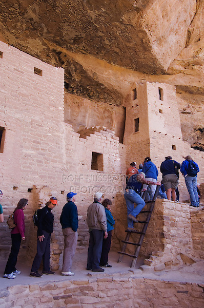 Tourist in Cliff Palace, Mesa Verde National Park, Colorado, USA