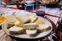 Traditional Albanian Goat cheese from northern Albania. Tradita traditional restaurant, Shkodra. Albania, Balkan, Europe.