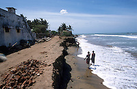 INDIA Tranquebar, in 18th century a former danish trading post in Tamil Nadu / INDIEN Tranquebar, war eine ehemalige daenische Handelsniederlassung im 18. Jh., ganze Straßenzüge der daenische Altstadt sind bereits durch das Meer weggewaschen