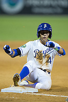 Nicky Lopez (4) of the Burlington Royals slides into third base during the game against the Kingsport Mets at Burlington Athletic Stadium on July 18, 2016 in Burlington, North Carolina.  The Royals defeated the Mets 8-2.  (Brian Westerholt/Four Seam Images)