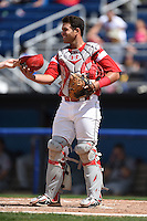 Batavia Muckdogs catcher Felix Castillo (47) during a game against the Mahoning Valley Scrappers on August 24, 2014 at Dwyer Stadium in Batavia, New York.  Mahoning Valley defeated Batavia 7-6.  (Mike Janes/Four Seam Images)