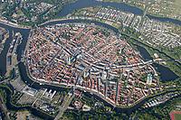 4415/Luebeck:EUROPA, DEUTSCHLAND, SCHLESWIG- HOLSTEIN, 07.06.2005:Hansestadt Luebeck, Luftaufnahme, Luftbild,  Luftansicht