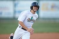 Jacob Whitley (35) (Charlotte) of the Mooresville Spinners hustles towards third base against the Carolina Venom at Moor Park on June 22, 2020 in Mooresville, NC.  The Spinners defeated the Venom 7-2. (Brian Westerholt/Four Seam Images)