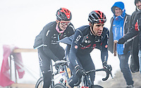 Jonathan Castroviejo (ESP/INEOS Grenadiers) coming over the Passo Giau<br /> <br /> due to the bad weather conditions the stage was shortened (on the raceday) to 153km and the Passo Giau became this years Cima Coppi (highest point of the Giro).<br /> <br /> 104th Giro d'Italia 2021 (2.UWT)<br /> Stage 16 from Sacile to Cortina d'Ampezzo (shortened from 212km to 153km)<br /> <br /> ©kramon