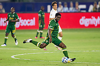 CARSON, CA - OCTOBER 07: Larrys Mabiala #33 of the Portland Timbers sends a ball upfield during a game between Portland Timbers and Los Angeles Galaxy at Dignity Heath Sports Park on October 07, 2020 in Carson, California.