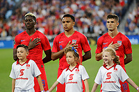St. Paul, MN - Tuesday June 18, 2019: Gyasi Zardes, Weston McKennie, Christian Pulisic  of the United States during a 2019 CONCACAF Gold Cup group D match between the United States and Guyana on June 18, 2019 at Allianz Field in Saint Paul, Minnesota.
