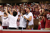 Arkansas fans react, Saturday, September 11, 2021 during a football game at Reynolds Razorback Stadium in Fayetteville. Check out nwaonline.com/210912Daily/ for today's photo gallery. <br /> (NWA Democrat-Gazette/Charlie Kaijo)