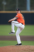 Campbell Camels relief pitcher Cameron O'Brien (30) in action against the Dayton Flyers at Jim Perry Stadium on February 28, 2021 in Buies Creek, North Carolina. The Camels defeated the Flyers 11-2. (Brian Westerholt/Four Seam Images)