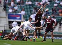 4th July 2021; Twickenham, London, England; International Rugby, Autumn Internationals, England versus United States of America; Harry Randall of England kicks under pressure from Cam Dolan of USA