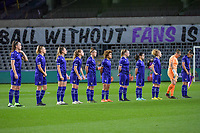 line-up team Anderlecht ( midfielder Tine De Caigny (6) , forward Sarah Wijnants (11) , forward Tessa Wullaert (27) , forward Jarne Teulings (16) , defender Laura Deloose (14) , midfielder Kassandra Missipo (12) , defender Silke Leynen (17) , midfielder Stefania Vatafu (10) , midfielder Charlotte Tisson (20) , goalkeeper Justine Odeurs (13) , defender Laura De Neve (8) ) pictured before a female soccer game between RSC Anderlecht Dames and Portugese Benfica Ladies  in the second qualifying round for the Uefa Womens Champions League of the 2020 - 2021 season , Wednesday 18 th of November 2020  in ANDERLECHT , Belgium . PHOTO SPORTPIX.BE | SPP | STIJN AUDOOREN