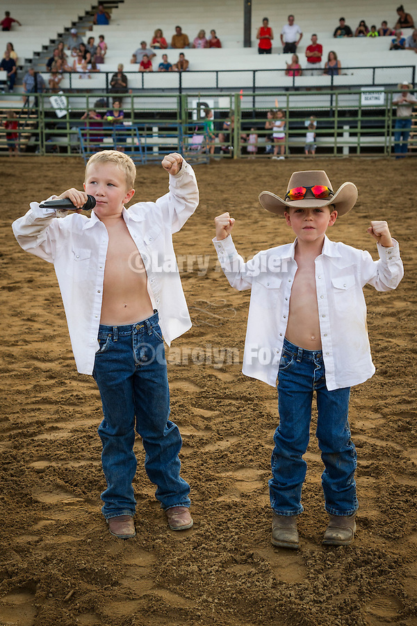Kids' Mutton Bustin' trials at the 75th Amador County Fair, Plymouth, Calif.<br /> <br /> Brady Blake and Aden