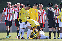 Joey May of Hornchurch (3rd R) is sent off by referee John Hopkins - AFC Hornchurch vs Bromley - Blue Square Conference South Football at The Stadium, Upminster Bridge, Essex - 01/04/13 - MANDATORY CREDIT: Gavin Ellis/TGSPHOTO - Self billing applies where appropriate - 0845 094 6026 - contact@tgsphoto.co.uk - NO UNPAID USE.