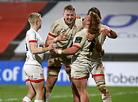 19th March 2021;   Bradley Roberts is congratulated after he scored Ulster's final try during the final round of the Guinness PRO14 against Zebre Rugby held at Kingspan Stadium, Ravenhill Park, Belfast, Northern Ireland. Photo by John Dickson/Dicksondigital