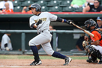 Trenton Thunder Shortstop Luis Nunez (21) during a game vs. the Erie Seawolves at Jerry Uht Park in Erie, Pennsylvania;  June 24, 2010.   Trenton defeated Erie 11-2.  Photo By Mike Janes/Four Seam Images
