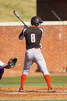 Jake Thomas (8) of the Bowling Green Falcons at bat against the High Point Panthers at Willard Stadium on March 9, 2014 in High Point, North Carolina.  The Falcons defeated the Panthers 7-4.  (Brian Westerholt/Four Seam Images)