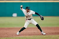 Greensboro Grasshoppers shortstop Francisco Acuna (7) on defense against the Rome Braves at First National Bank Field on May 16, 2021 in Greensboro, North Carolina. (Brian Westerholt/Four Seam Images)