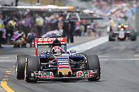 March 14, 2015: Max Verstappen (NDL) #33 from the Scuderia Toro Rosso team leaves the pits for practise three at the 2015 Australian Formula One Grand Prix at Albert Park, Melbourne, Australia. Photo Sydney Low