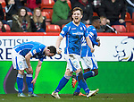 Aberdeen v St Johnstone…27.02.16   SPFL   Pittodrie, Aberdeen<br />Liam Craig celebrates his goal<br />Picture by Graeme Hart.<br />Copyright Perthshire Picture Agency<br />Tel: 01738 623350  Mobile: 07990 594431