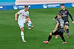 Dennis Borkowski (#19, 1. FC Nürnberg) am Ball. Nikola Dovedan (#10, 1. FC Nürnberg) und Erik Shuranov (#44, 1. FC Nürnberg) schauen zu., , Nürnberg, Deutschland, 27 April, 2021. Max Morlock Stadion, beim Spiel in der 2. Bundesliga, 1. FC Nürnberg - Holstein Kiel    <br /> <br /> Foto © PIX-Sportfotos *** Foto ist honorarpflichtig! *** Auf Anfrage in hoeherer Qualitaet/Aufloesung. Belegexemplar erbeten. Veroeffentlichung ausschliesslich fuer journalistisch-publizistische Zwecke. For editorial use only. DFL regulations prohibit any use of photographs as image sequences and/or quasi-video.