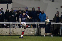Will Magie of London Scottish kicking for the posts during the Greene King IPA Championship match between London Scottish Football Club and Nottingham Rugby at Richmond Athletic Ground, Richmond, United Kingdom on 7 February 2020. Photo by Carlton Myrie.