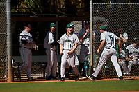 Dartmouth Big Green Trystan Sarcone (14) celebrates with teammates during a game against the Omaha Mavericks on February 23, 2020 at North Charlotte Regional Park in Port Charlotte, Florida.  Dartmouth defeated Omaha 8-1.  (Mike Janes/Four Seam Images)