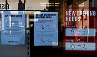 Notices at Iceland in Sidcup, Kent during the Coronavirus (COVID-19) outbreak where travel has been restricted across the country at Sidcup, England on 25 March 2020. Photo by Alan Stanford/PRiME Media Images