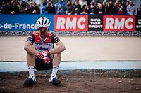 A dissapointed John DEGENKOLB (DEU/Trek-Segafredo) post-race<br /> <br /> 117th Paris-Roubaix 2019 (1.UWT)<br /> One day race from Compiègne to Roubaix (FRA/257km)<br /> <br /> ©kramon