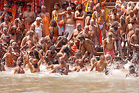 the naga baba at Har Ki Pauri.ghat  in Hariwar India to take the holy bath into Ganga river to take human out of the circle of life & death ( stage known as Moksha )