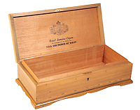 BNPS.co.uk (01202 558833)<br /> Pic: Duke'sAuctions/BNPS<br /> <br /> Pictured: The cedar case.<br /> <br /> An unsmoked cigar given by Winston Churchill to his electrician has emerged for sale.<br /> <br /> So impressed was the wartime PM  with Ronald Cooper's work at installing lights around his lake at Chartwell, his country house in Kent, he handed him a limited edition Cuban cigar.<br /> <br /> Mr Cooper treasured the cigar, that was made by J, Cuesta of Havana, for the rest of his life.
