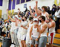 Waunakee fans celebrate a point, as DeForest tops Waunakee 3 sets to 1 in Wisconsin WIAA girls high school volleyball regional finals on Saturday, Apr. 10, 2021 at DeForest High School
