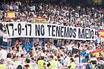 Real Madrid's supporters keep silence minute to victims of terrorist attack on Barcelona during XXXVIII Santiago Bernabeu Trophy at Santiago Bernabeu Stadium in Madrid, Spain August 23, 2017. (ALTERPHOTOS/Borja B.Hojas)