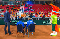 The Hague, The Netherlands, September 17, 2017,  Sportcampus , Davis Cup Netherlands - Chech Republic, Kids press-conference with Thiemo de Bakker (NED) and Tallon Griekspoor (R)<br /> Photo: Tennisimages/Henk Koster