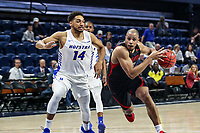 Washington, DC - March 10, 2020: Northeastern Huskies guard Maxime Boursiquot (14) drives to the basket during the CAA championship game between Hofstra and Northeastern at  Entertainment and Sports Arena in Washington, DC.   (Photo by Elliott Brown/Media Images International)