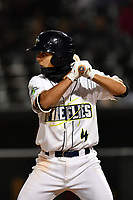 Shortstop Andres Jimenez (4) of the Columbia Fireflies keeps warm at bat in a game against the Lakewood BlueClaws on Friday, May 5, 2017, at Spirit Communications Park in Columbia, South Carolina. Lakewood won, 12-2. (Tom Priddy/Four Seam Images)