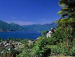 CHE, Schweiz, Tessin, Tenero am Lago Maggiore mit Wallfahrtskirche Fraccia | CHE, Switzerland, Ticino, Tenero with pilgrimage church Fraccia at Lago Maggiore