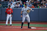 Hudson Valley Renegades first baseman Kyle MacDonald (28) waits for a throw during the game against the Aberdeen IronBirds at Leidos Field at Ripken Stadium on July 23, 2021, in Aberdeen, MD. (Brian Westerholt/Four Seam Images)