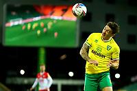 3rd November 2020; Carrow Road, Norwich, Norfolk, England, English Football League Championship Football, Norwich versus Millwall; Jordan Hugill of Norwich City heads the ball
