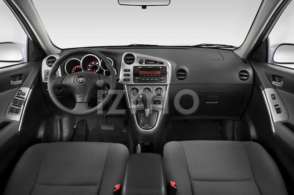 Straight dashboard view of a 2008 Toyota Matrix wagon.