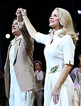 """Will Chase and Kelli O'Hara during the Broadway Opening Night Curtain Call for """"Kiss Me, Kate""""  at Studio 54 on March 14, 2019 in New York City."""